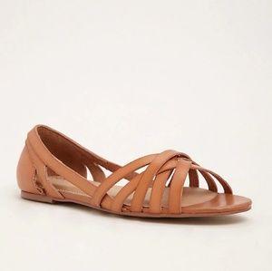 Torrid Strappy Peep Toe D'Orsay Flats Tan (WIDE)